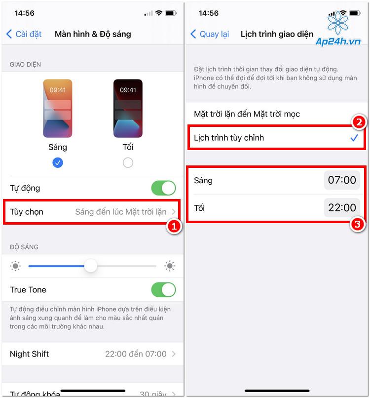 Thiệp lập chế độ trên iPhone theo tùy chỉnh