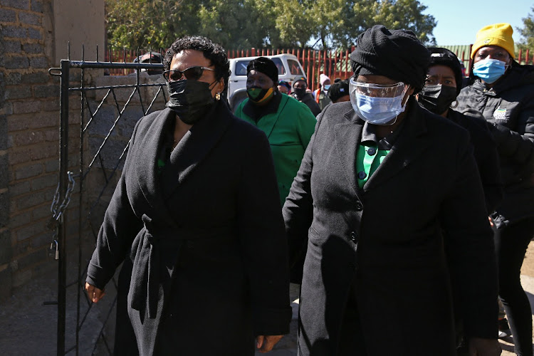 Nomvula Mokonyane and Bathabile Dlamini visiting families in Soweto who lost their loved ones during the looting that took place in the township over the past week.