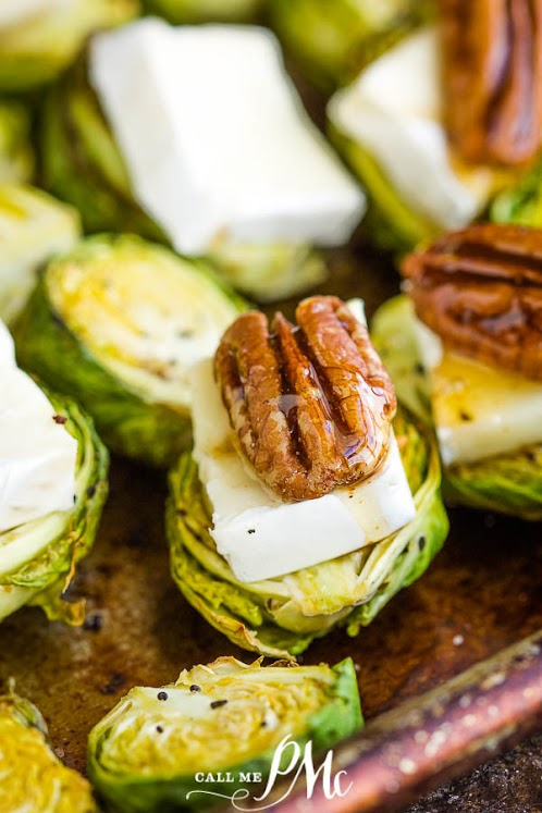 Toasted Pecan Brie Brussels Sprout Bites