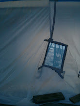 Photo: I placed couple standard home A/C filters in the sides of the tent to limit pressure differentials caused by breezes from causing the tent to fail.