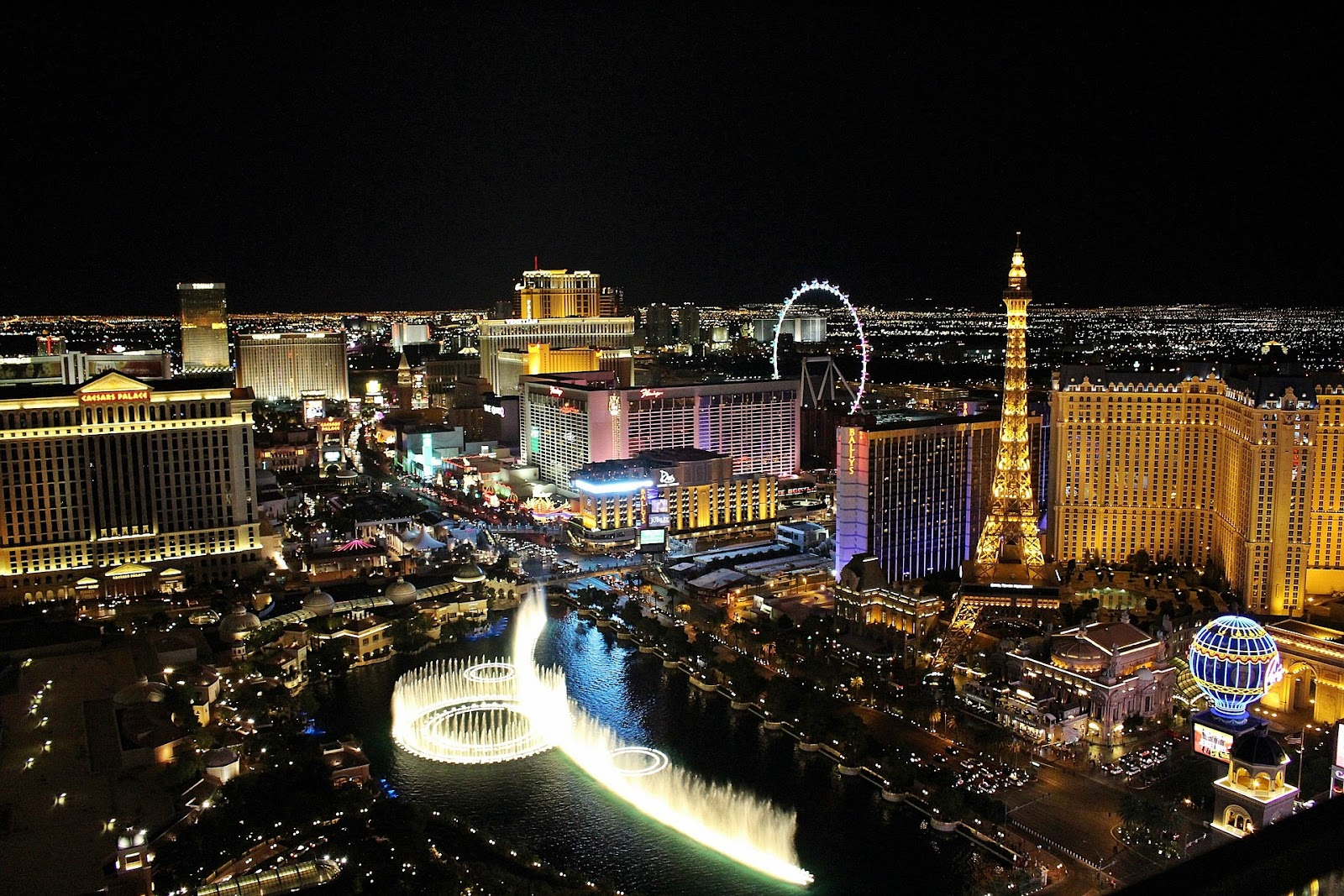 the strip in las vegas seen at night aerial view of fountain show and large hotels in nevada