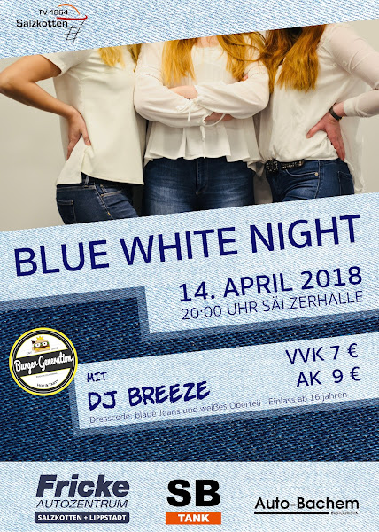 Blue White Night am 14.4. in der Halle