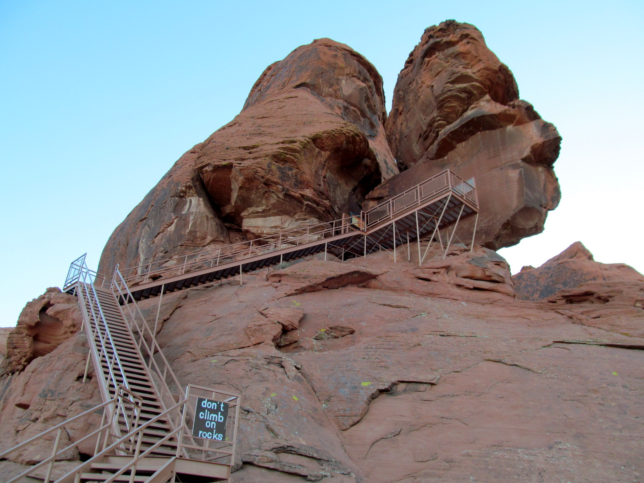 Photo: Don't climb on rocks, 'cause you might fuck 'em up more than this staircase