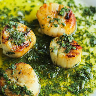 """""""Get It Right"""" grilled scallops with Lemon Salsa Verde."""