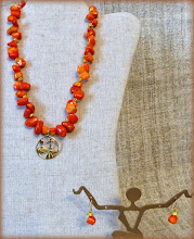 Photo: #178 -1 THE WILL OF GOD ~ БОЖА ВОЛЯ Gold plate pendant, coral nuggets, gold plate, 14K gold vermeil $80/set SOLD