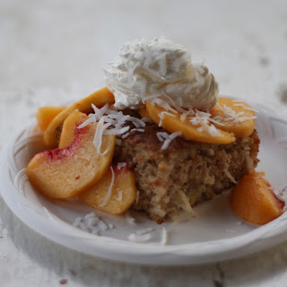 Fresh Peach and Coconut Cream Cake