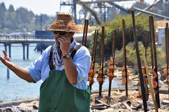 Photo: Don explains salmon bake