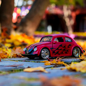 red volkswagen beetle  by Charles Saswinanto - Artistic Objects Toys
