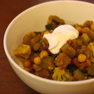 Indian-Spiced Eggplant and Cauliflower Stew.