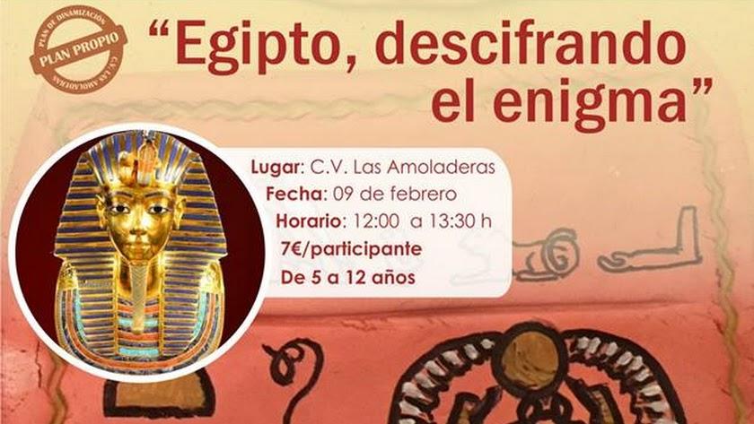 Cartel de la actividad infantil en Centro de Visitantes Las Amoladeras.