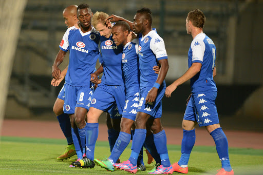 SuperSport United celebrate during the Absa Premiership match between SuperSport United and Bloemfontein Celtic