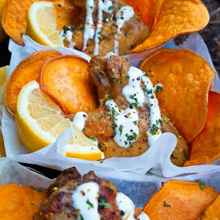 Lemon Pepper Wings and Oh Nothing….Just Coconut Oil Fried Sweet Potato Chips.