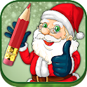 Santa coloring pages xmas icon