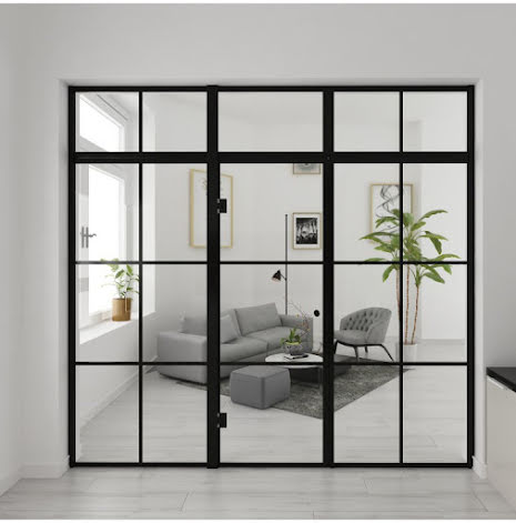 Industrivägg Dörr + 2 väggar + ovanliggare svart