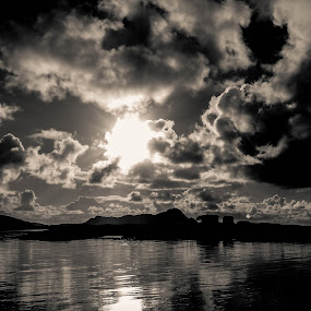 Glimpse by Elisabeth Sjåvik Monsen - Black & White Landscapes ( clouds, sky, black and white, seascape, arctic, landscape, coast, norway,  )