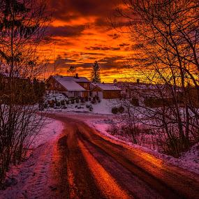Askim, Norway 158 (Reflections) by IP Maesstro - Transportation Roads ( winter, ip maesstro, hdr, ice, sunset, snow, reflections, forest, road, sunrise, askim, norway )