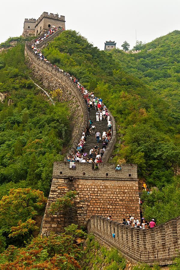 Badalang Great Wall by Richard Galande - Landscapes Mountains & Hills ( mountain, green, mandarin, badalang, chinese, destination, history, tourist, wonders, great, trees, rocks, wall, world, china )