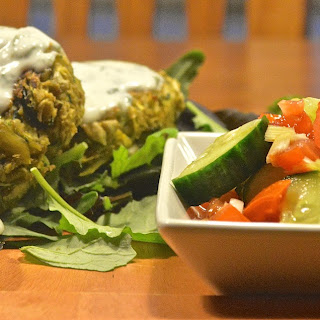 Vegan Store Cupboard Spiced Courgette (Zucchini) and Bean Fritters With Minted Yoghurt Dip