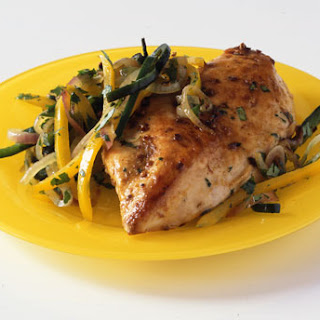 Spiced Chicken Breasts with Poblano and Bell Pepper Rajas Recipe