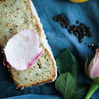 Gluten Free Lemon & Cracked Pepper Pound Cake with Rose Water Glaze.