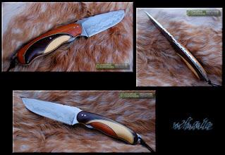 """Photo: Fixe custom . Lame deGil de la """"Forge de la baleine"""". http://opinel-passions-bois.blogspot.fr/ Personnalisations en marquèterie de bois précieux, cornes, résines et aluminium."""