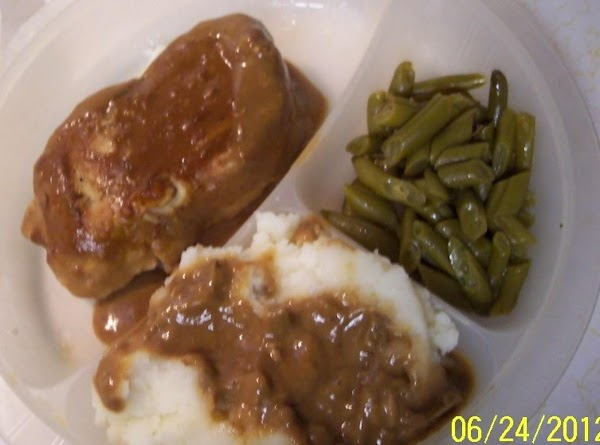 Thicken the gravy in the crock pot with a little flour and water,  stir,...