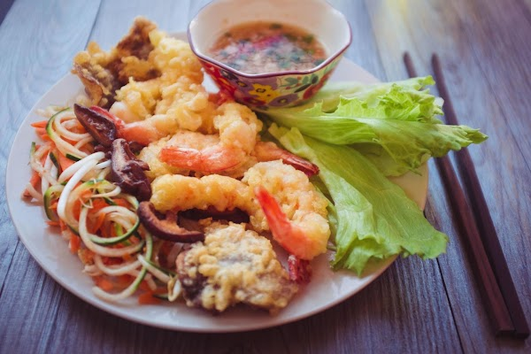 To serve: wrap the shrimp and mushroom tempura in a lettuce leaf, top with...