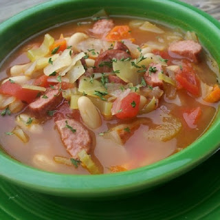 Slow Cooker Sausage,Beans and Cabbage Soup.
