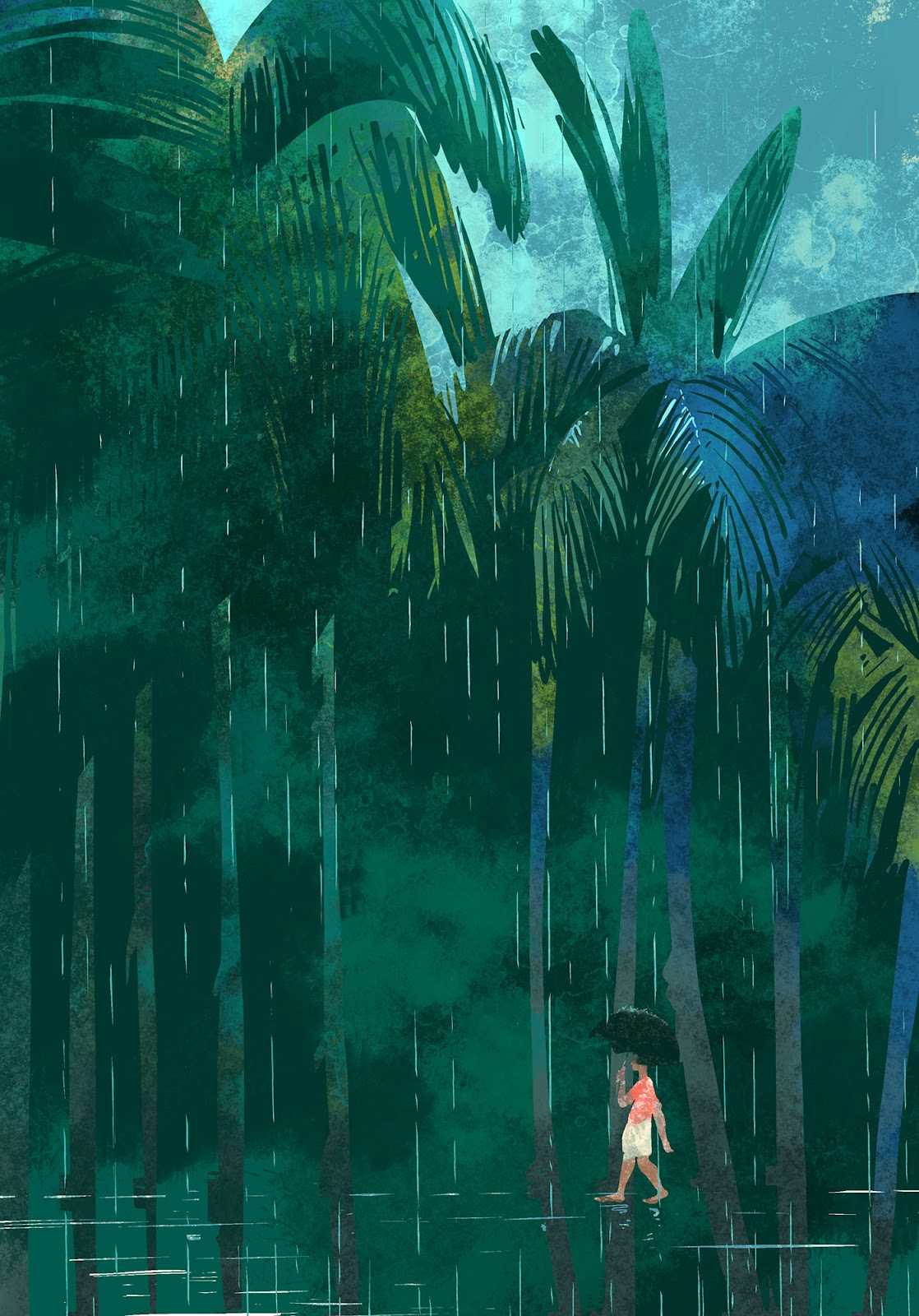 Digital Art  Drawing  ILLUSTRATION  kerala life monsoon pen rain Umbrella
