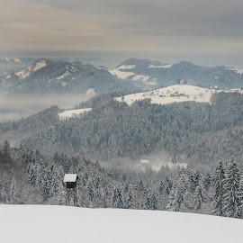 Winter watch tower by Bor Rojnik - Landscapes Mountains & Hills ( slovenia, nature, year, breathtaking, hiking, winter, clouds, holiday, view, places, mountain, action, tranquility, travel, day, landscape )