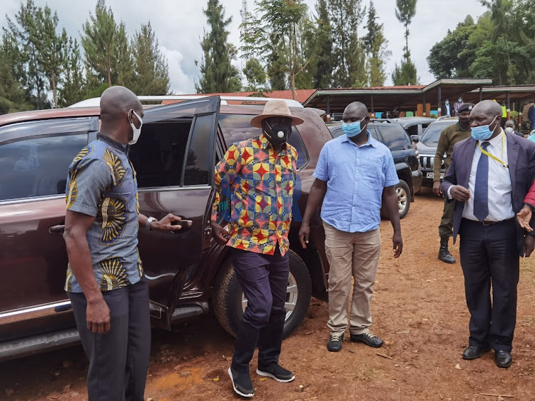 ODM leader Raila Odinga when he arrived at the Nyamira Primary School grounds on December 24, 2020.