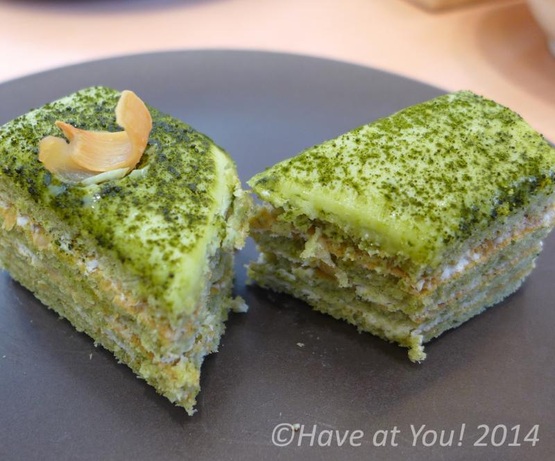 matcha lychee almond cake