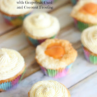 Grapefruit Angel Food Cupcakes with Grapefruit Curd Filling and Coconut Frosting