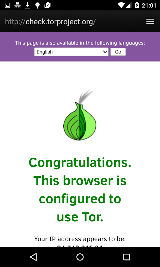 Fire.onion (Browser + Tor)- screenshot