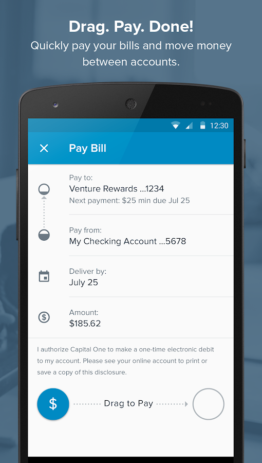Screenshots of Capital One® Mobile for iPhone