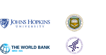 Logo lockup of Johns Hopkins, US Dept of Health & Human Services, The World Bank, United States Census Bureau