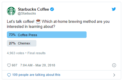 Starbucks poll asking which brewing method people want to learn about