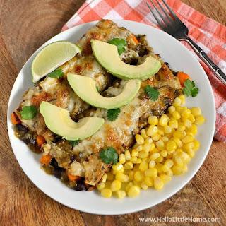 Black Bean and Butternut Squash Enchiladas with Green Sauce