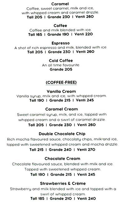 Starbucks menu 3