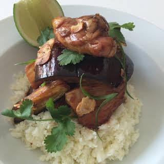 Chicken with Glazed Eggplant and Cauliflower Rice.