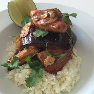 Chicken with Glazed Eggplant and Cauliflower Rice.