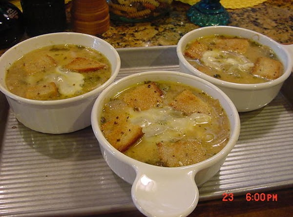 Add the soup to the 3 oven-proof bowls.  Add a thick slice of...