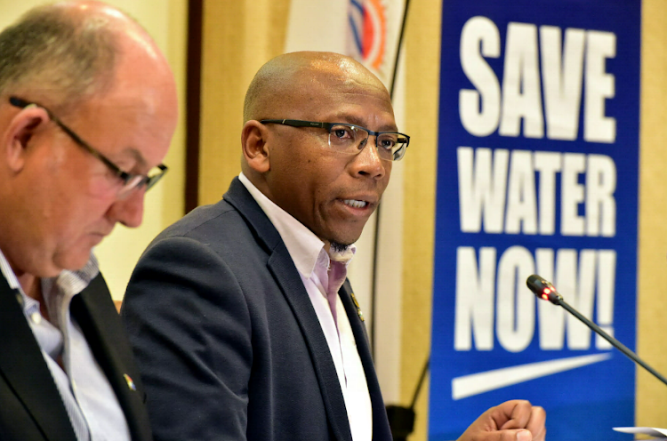 11 July 2018 Mayoral drought briefing was held on Wednesday morning, where new harsher restrictions level 5 was announced by the metro. The briefing was led by Executive Mayor Athol Trollip, Walter Shaidi (Executive Dir. Infrastructure and Engineering and Cllr Masixole Zinto (MMC Infrastructure, Engineering and Electricity). Picture Eugene Coetzee/The Herald