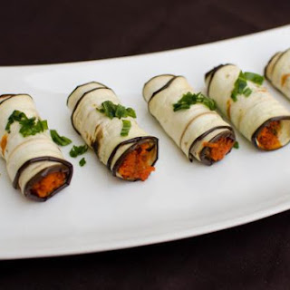 Eggplant Roll Up Appetizer.
