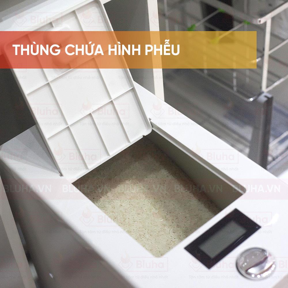Thùng chứa hình phễu - Thùng gạo gắn cánh Qman - Phụ kiện bếp chính hãng