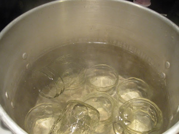Boil jalf pint jars (or smaller) in another large pot on top of stove....