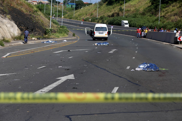 The taxi ploughed into four schoolgirls before coming to a stop. The driver  fled the
