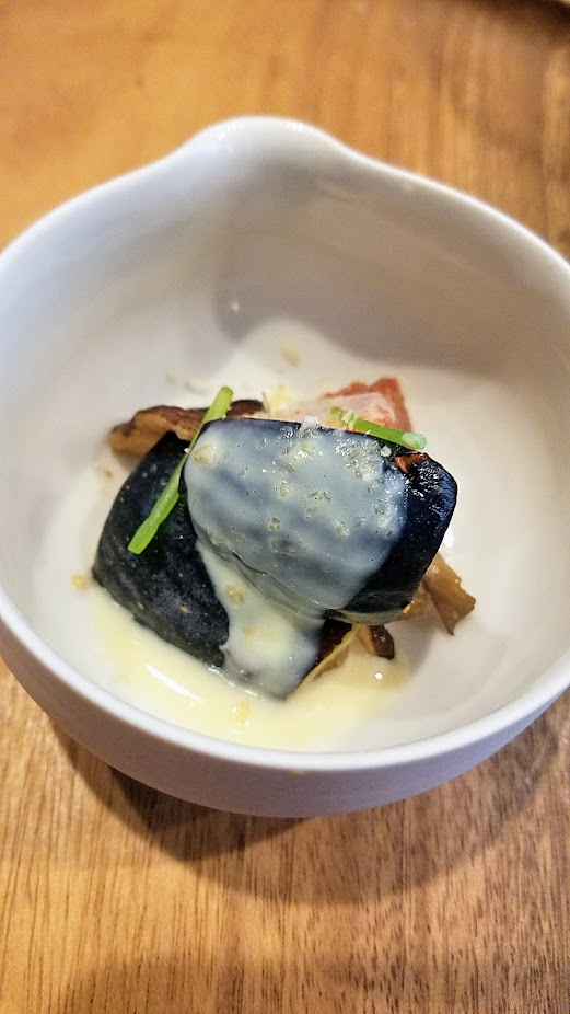 Nodoguro Twin Peaks themed dinner dish of Fig forest, inspired by the forests of the Northwest starring figs, mushroom, soy cream and pine nuts.
