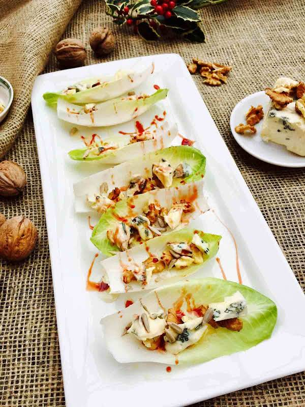 Blue Cheese, Walnut And Date Syrup Little Boats Recipe