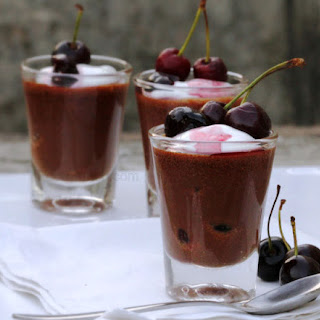 Chocolate and Wine Soaked Cherry Mousse Shots